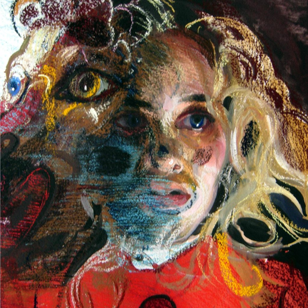 gouache and chalk pastel portrait of a woman with messy blonde hair and big blue eyes whose face is partially distorted by an unidentifiable beast