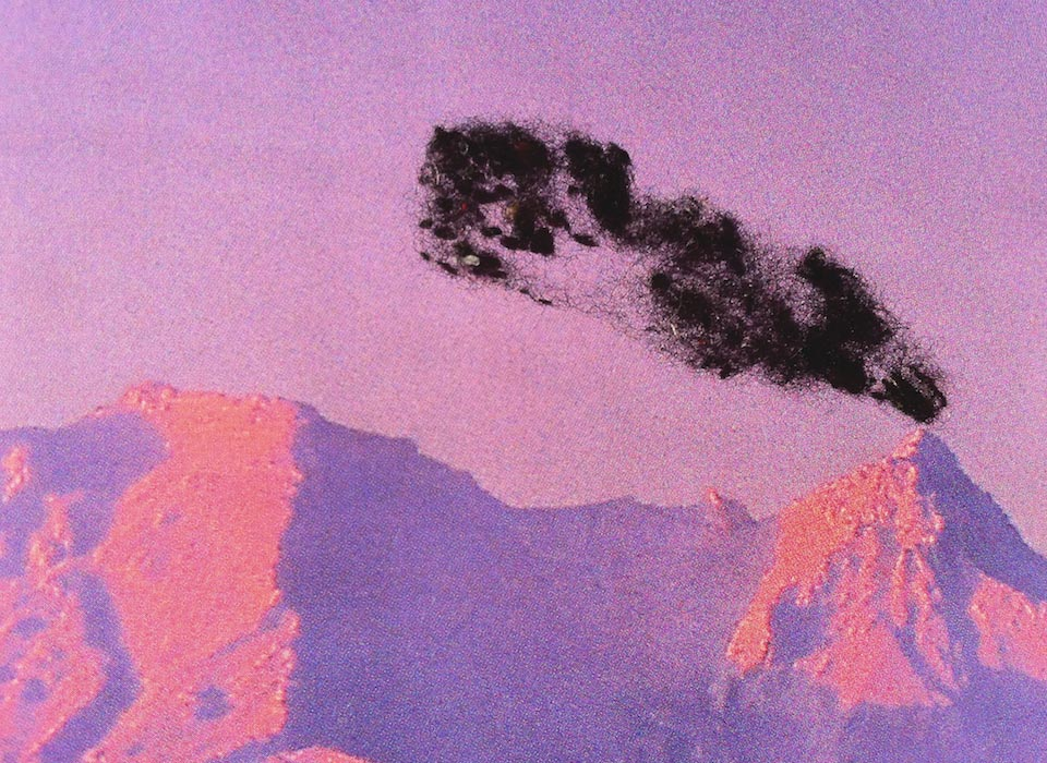 """Detail of """"Pink Volcano"""" piece from the Nina Katchadourian: Curiouser exhibition at the Blanton Museum of Art"""