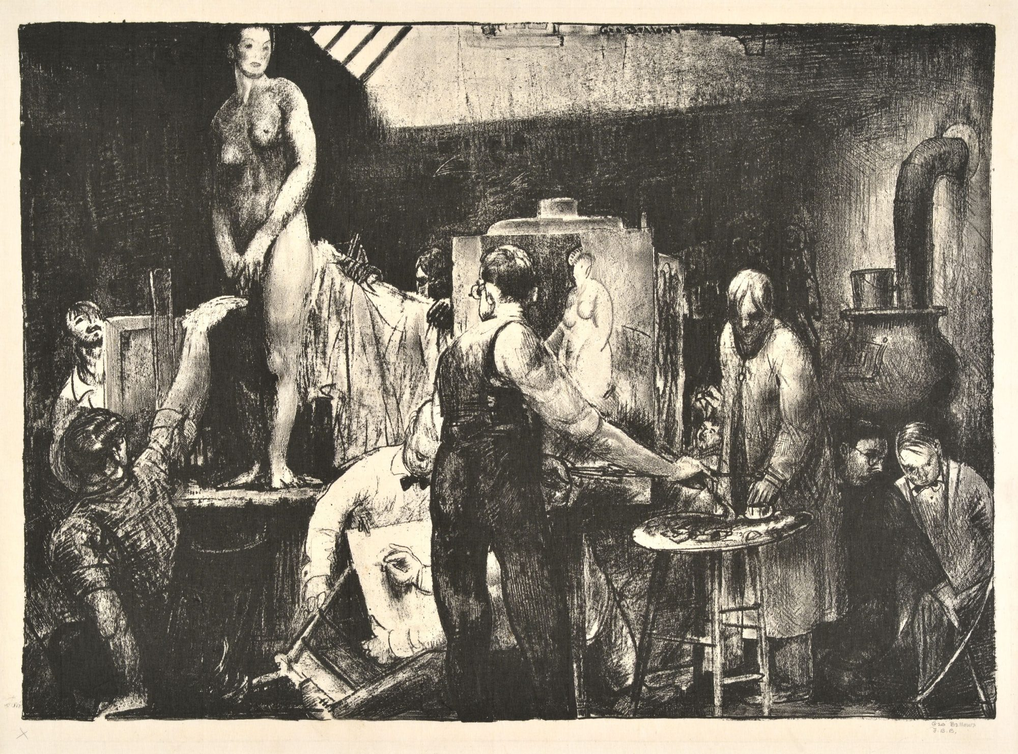 "George Bellows, ""The Life Class, First Stone"" drawing of a classroom scene participating in a life drawing activity"