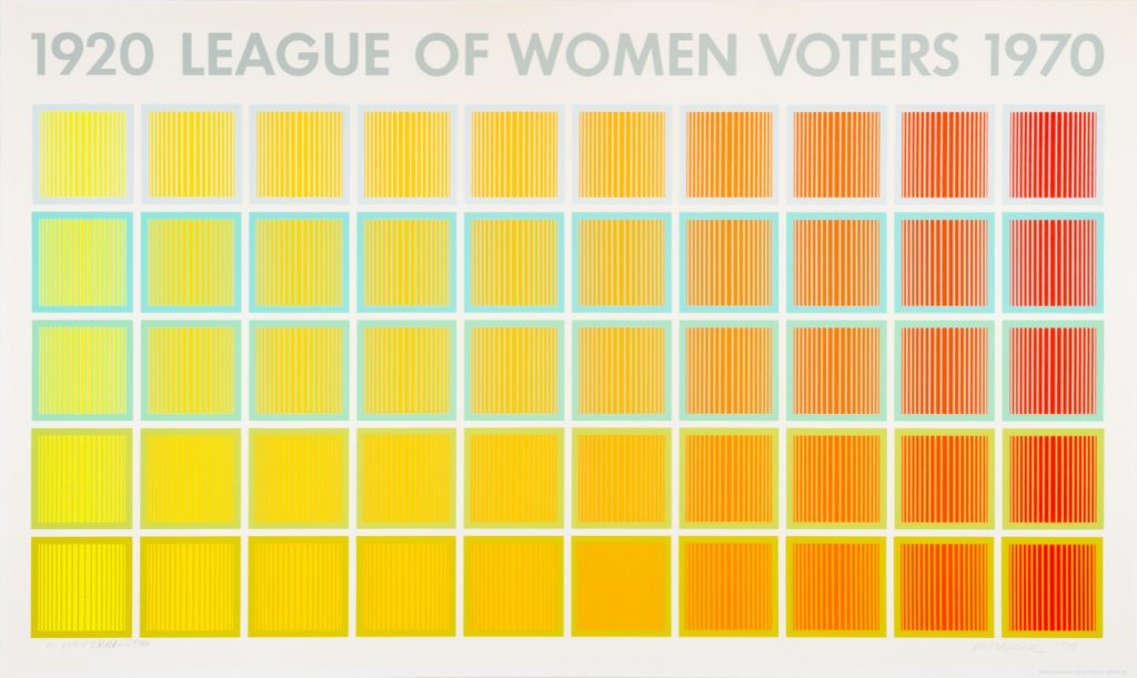 """horizontal format print; text along top reads """"1920 League of Women Voters 1970""""; below is a grid of geometric squares shifting from yellow (left) to orange (right)"""