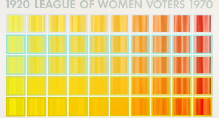 "horizontal format print; text along top reads ""1920 League of Women Voters 1970""; below is a grid of geometric squares shifting from yellow (left) to orange (right)"