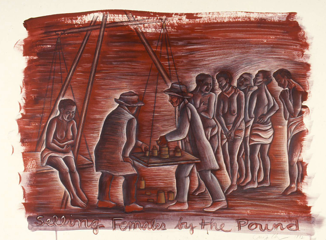 horizontal format drawing in red ochre color of white men weighing a Black enslaved woman on a human-sized scale; more Black women wait in the background