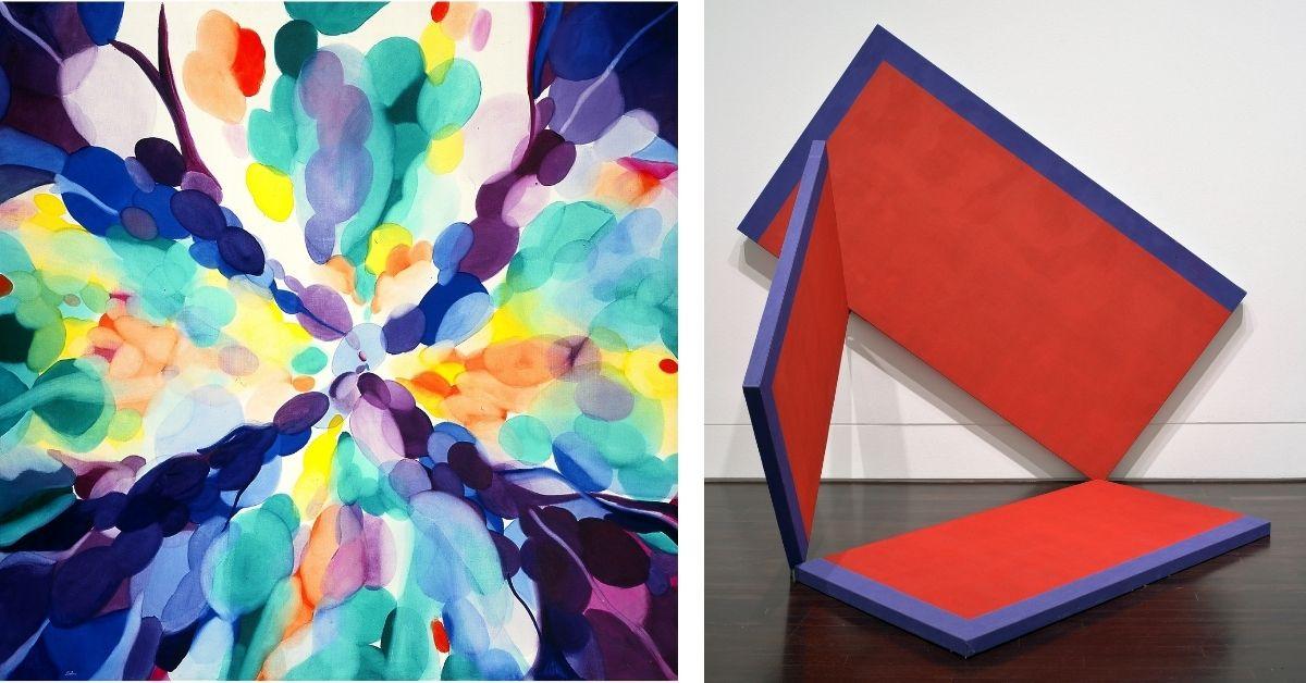 Alice Baber's Lavender High, 1968 (left, detail); Alejandro Puente's Estructura (3 panels), 1966 (right)