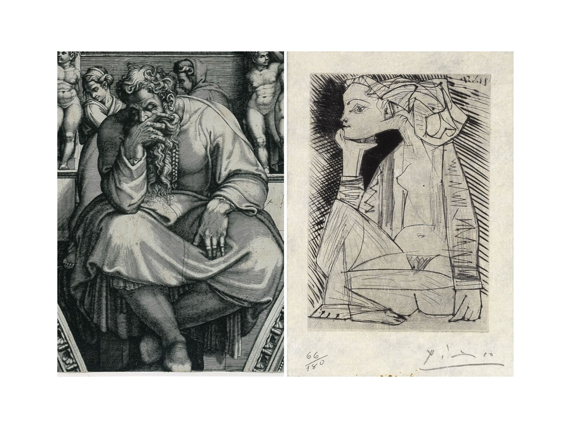 [Left Image] Giorgio Ghisi,The Prophet Jeremiah, after Michelangelo,early 1570s, (detail)11 13/16 x 17in., engraving, Blanton Museum of Art, The University of Texas at Austin, The Leo Steinberg Collection, 2002 [Right Image] Pablo Picasso,Seated Girl, front is piece to Recordant el Doctor Reventós, 1951, (detail), engraving and drypoint, 11 7/16 x 9 1/16in., Blanton Museum of Art, The University of Texas at Austin, The Leo Steinberg Collection, 2002