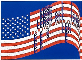 A detail of an artwork by Vito Acconci inspired by the USA flag.