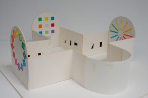 Miniature model of Ellsworth Kelly's Austin featured outside of the Blanton Museum of Art
