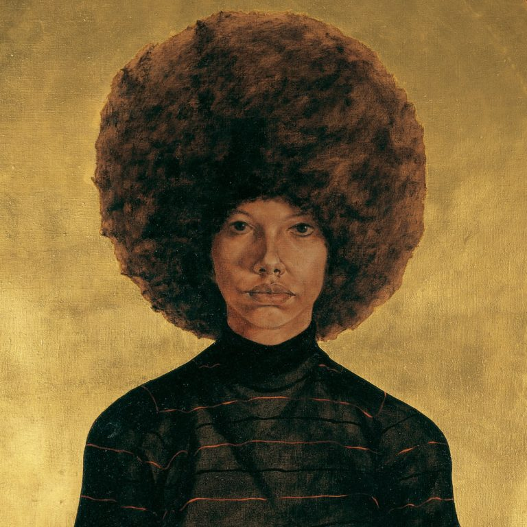 """Lawdy Mama"" (1969), one of Mr. Hendricks's earliest portraits, features a background in gold leaf that suggests a Byzantine icon. A young woman with an enormous Afro with a straight faced gaze looks at the viewer."