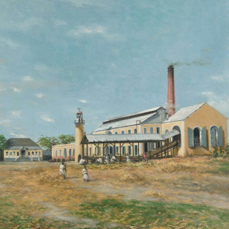 painting of a puerto rican sugar mill. large yellow building with a brick chimney. laborers in the foreground gathering sugar cane