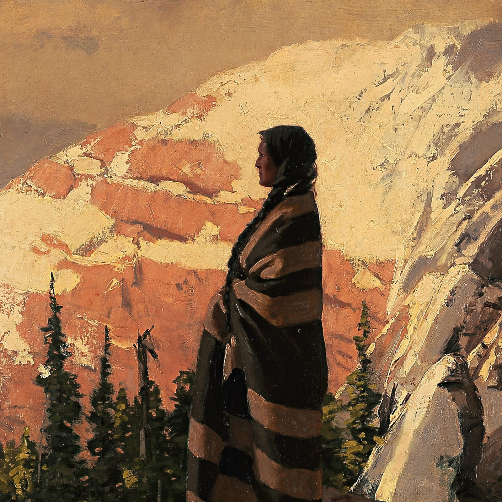 A painting of a Native American, wrapped in a blanket, gazing out over mountains and woods