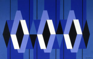 the image is of and abstract piece with overlapping rhombuses they are multi-colored consisting of three shades of blue, and black, and white components. the image is broken up by six vertical lines evenly segmenting the whole piece it is hard to discern where each rhombus beings and ends
