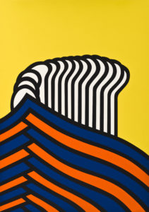 A image depicting a abstract screen print the piece is broken up into three parts the top is a yellow section broken up in the middle by 14 over laying circles that gradually elongate into almost spoon like shape. The bottom section is composed of nine alternating blue and orange wishbone shapes