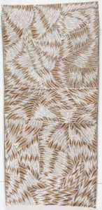 Galuma Maymuru, Munurru (Rough). Natural pigments used to make shapes on eucalyptus bark