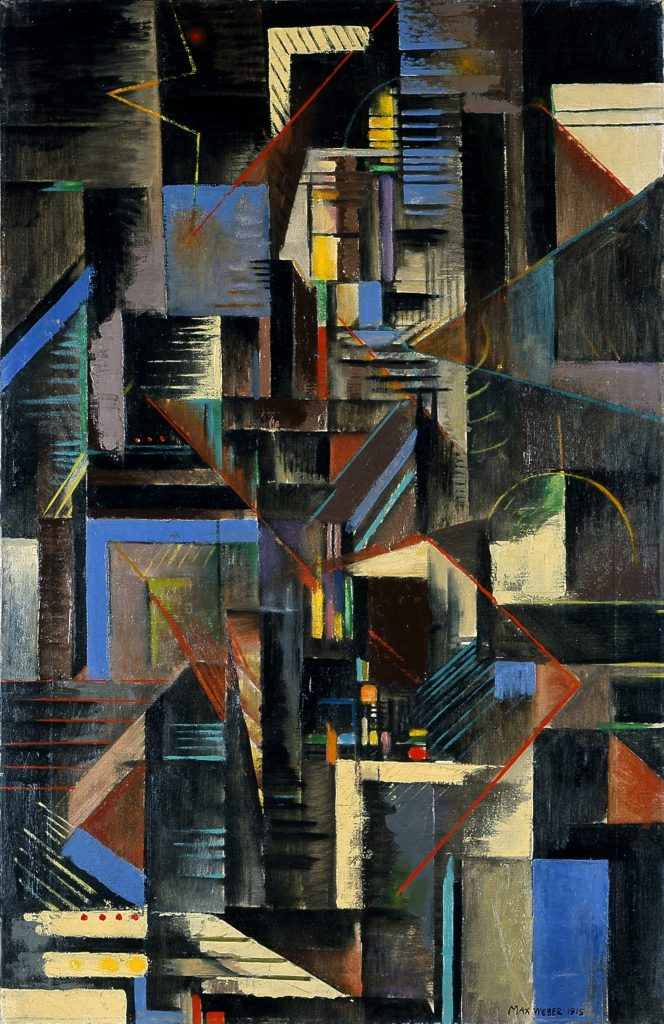 "Cubist painting by Max Weber, titled ""New York at Night"""