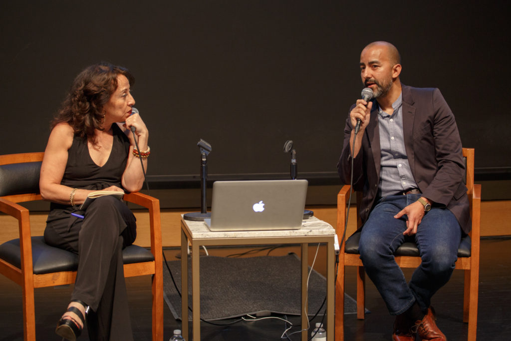 "Vincent Valdez & Maria Hinojosa speak about his painting, ""The City,"" onstage"