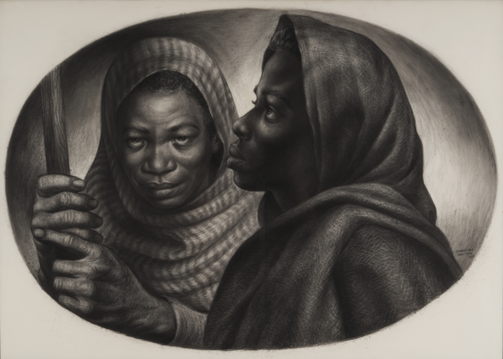 "Drawing by Charles White, titled ""General Moses and Sojourner Truth"", depicting two famed African American women who fought for equality"