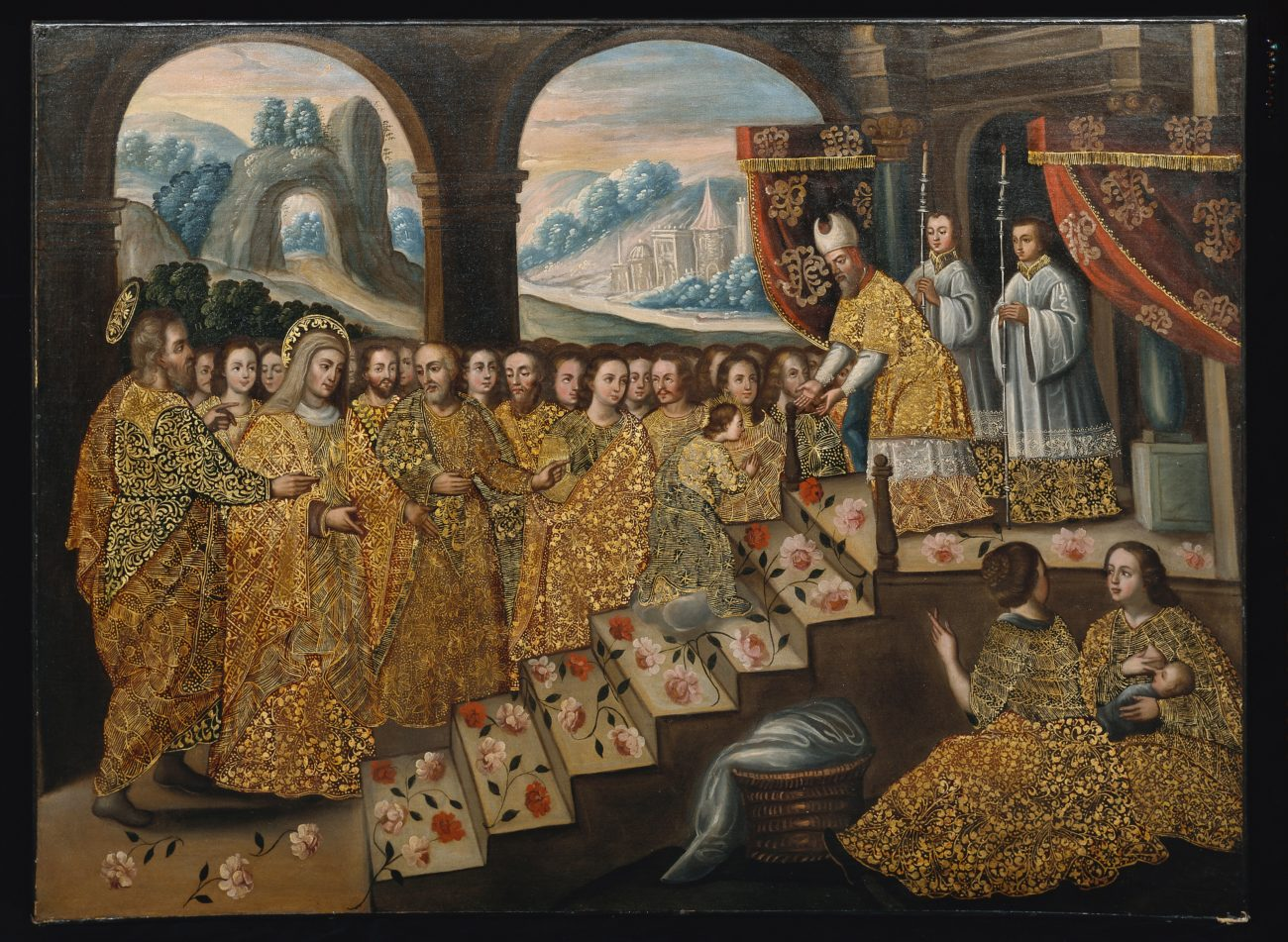 a large crowd dressed in gold embellished clothing gather around an altar where a priest-like figure and two altar boys stand. a smaller female figure climbs rose covered stairs to meet the priest whose arms are outstretched.