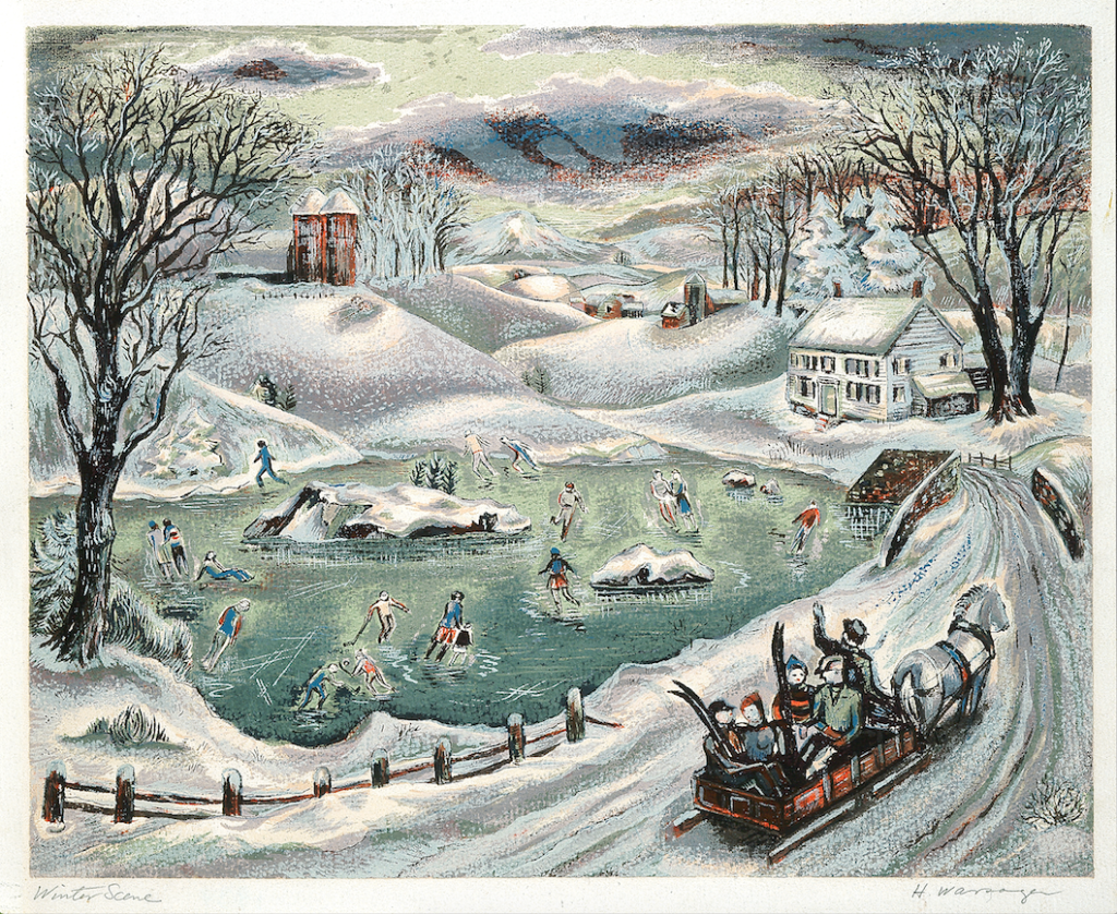 "Screenprint by Hyman Warsager, titled ""Winter Scene"", depicting a snowy landscape and people skating on a frozen pond"
