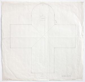 A pencil study of the floor plan of Ellsworth Kelly's Austin