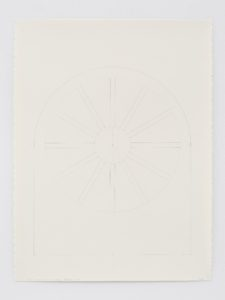 A pencil study of the stained glass window in the North wall of Ellsworth Kelly's Austin
