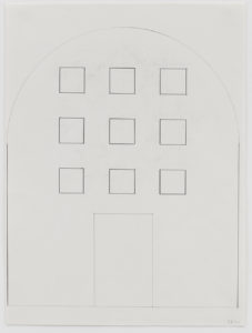 Building facade schematic. Straight walls that come to a curved ceiling. Nine squares representative of windows in a grid pattern. A rectangle below the grid representative of a door.