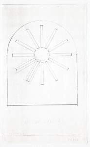 """Building exterior schematic. Straight walls that come to a curved ceiling. Twelve rectangles arranged in a circular starburst pattern. Two rectangles have outlines making them appear three dimensional. Markings stating, """"north wall"""" and """"outside wall B."""""""