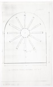 """Building exterior schematic. Straight walls that come to a curved ceiling. Twelve rectangles arranged in a circular starburst pattern. Markings stating, """"north wall B,"""" """"12 stained glass windows,"""" window colors, and dimensions in feet and inches."""