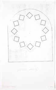 """Building exterior schematic. Straight walls that come to a curved ceiling. Twelve quadrilateral rhombuses, each is rotated so that two of its points lie on an invisible circle. Two rhombuses have outlines making them appear three dimensional. Markings stating, """"south wall"""" and """"outside wall C."""""""