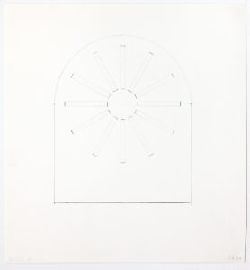 """Building schematic. Straight walls that come to a curved ceiling. Twelve rectangles arranged in a circular starburst pattern. """"Wall B,"""" marked in the bottom left corner."""
