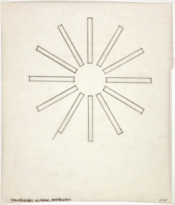 Tracing of stained glass window of the North Wall, 12 thin rectangles jut out from circle forming a starburst shape
