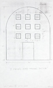 sketch for wall that curves on top detailed with notes regarding dimensions for wall and the accompanying nine stained glass windows written inside each window are the names of the corresponding colors also depicted is a door and its dimensions.