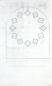 Sketch for South Wall of Austin the sketch is of a wall with curved top including dimensions of wall and accompanying square stained glass windows the squares are in different rotations to appear to be tumbling. The twelve stained glass windows are labeled by corresponding color