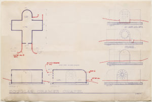 """Blueprint of """"Cramer chapel"""" featuring all four """"sides"""" of the Kelly building plus an aerial view. hand-drawn changes are made in red ink."""