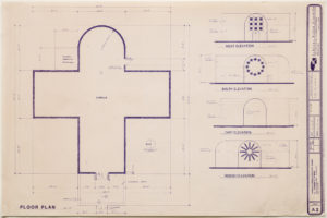 """Blueprint of """"Cramer chapel"""" featuring all four """"sides"""" of the Kelly building plus an aerial view. includes detailed measurments of the entire structure"""