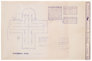 """Blueprint of """"Cramer chapel's"""" electrical plan drawn in aerial view"""