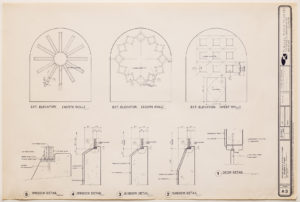 """blueprint of """"cramer chapel's"""" three windows with detailed measurements"""
