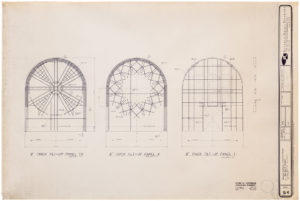 """blueprint of """"cramer chapel's"""" interior structure for all three windows"""