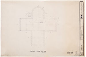 "Blueprint of ""Cramer chapel's"" foundation plan - aerial view"