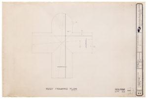 "Blueprint of ""Cramer chapel's"" roof framing plan - aerial view"