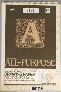 Sketchbook cover with pencil notes written all over. (14 Stations of the Cross), 1989 written vertically on right hand side.