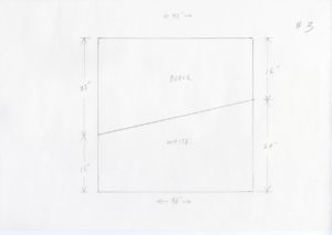 """Pencil sketch of a square with dimensions measured on the exterior. The square has a horizontal diagonal line with """"BLACK"""" written above and """"WHITE"""" written below. The top and bottom have arrows measuring the width which is 40''. The left hand side of the square has vertical arrows measuring where the line intersects. The Black section measures 25'', while the white sections measure 15''. The right hand side has a similar set of arrows with the black section on top reading 16'' and the bottom white section reading 24''. #3 is sketched on the top right hand side of the paper."""