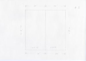 """Pencil sketch of a square with a vertical line drawn down the middle. On the left of the line reads """"WHITE"""", to the left reads """"BLACK"""". The height dimensions are written on the left and right hand sides with vertical arrows which read 40''. The top and bottom of the square have a set of arrows that both read 20''. #5 is sketched on the top right hand side of the paper."""