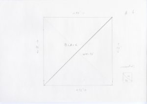 """Pencil sketch of a square with a diagonal line from the bottom left to the top right. Above the line reads """"BLACK"""" and below reads """"WHITE"""". Dimensions are sketched on the sides of the square which read 40'' with arrows indicating direction. To the right hand side of the square is another smaller sketch of a square with the diagonal line going the opposite direction. """"W"""" is above with """"BK"""" below. """"CORRECTED:"""" written in cursive is above the small square. #6 is written on the top right corner of the paper."""