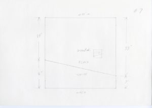 """Pencil sketch of a square with a horizontal diagonal line drawn in the middle. Below the line reads """"WHITE"""". Above the line reads """"BLACK"""". Above that reads """"Corrected:"""" with a smaller square with a line going the opposite direction drawn beside it. The sides of the large square have measurements drawn on with arrows indicating direction. The top and bottom read 40''. The left hand side reads 24'' then 16''. The right hand side reads 33'' then 7''. These measurements show the dimensions of the colors. #7 is written on the top right of the paper."""