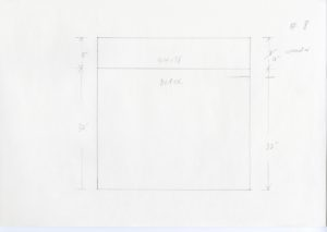 """Pencil sketch of a square with a horizontal line on the top of the square. Above the line reads """"WHITE"""" and below reads """"BLACK"""". This separates the square into two sections. The left hand side has a set of vertical arrows measuring the dimensions. The black section reads 32'' and above reads 8''. The right hand side has a similar set of arrows reading 32'' and 8''. 8'' has a slash drawn on it with 10'' corrected written beside it. #8 is written on the top right of the paper."""