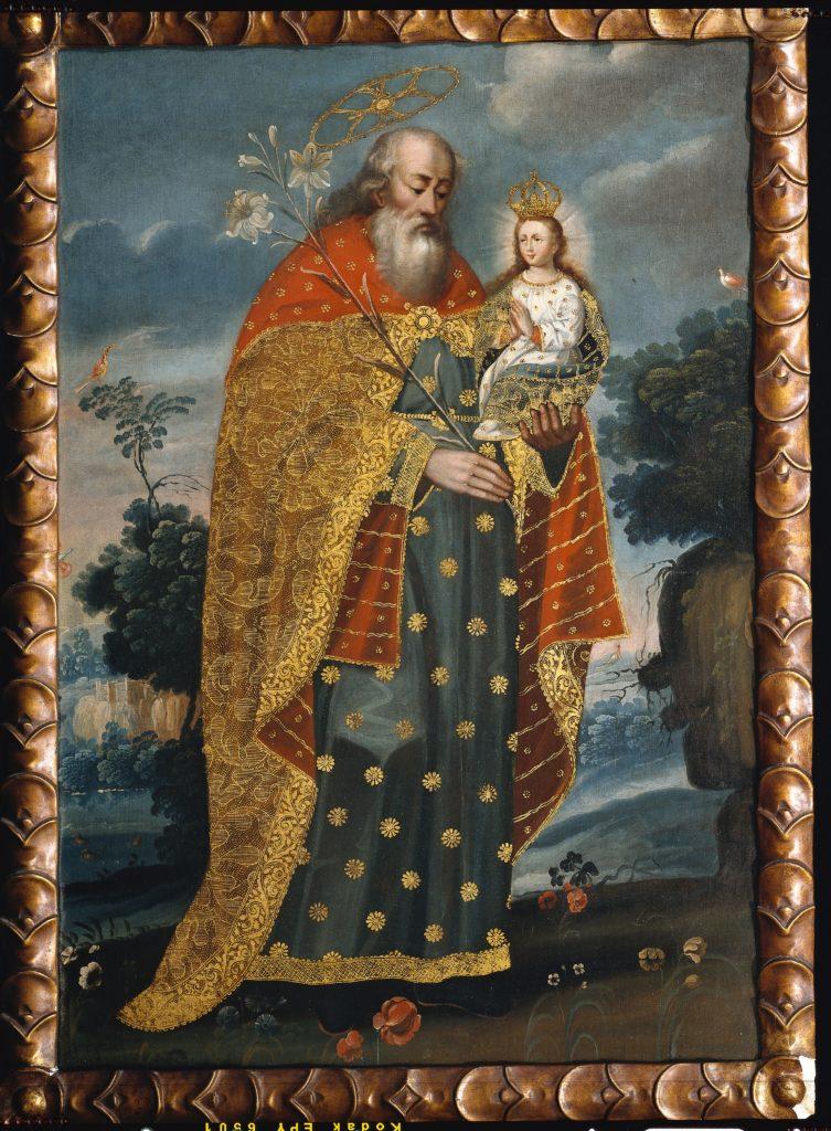 "Painting by unknown artist, titled ""San Joaquín y la Virgen María niña [Saint Joachim and the Virgin Mary as a child]"""