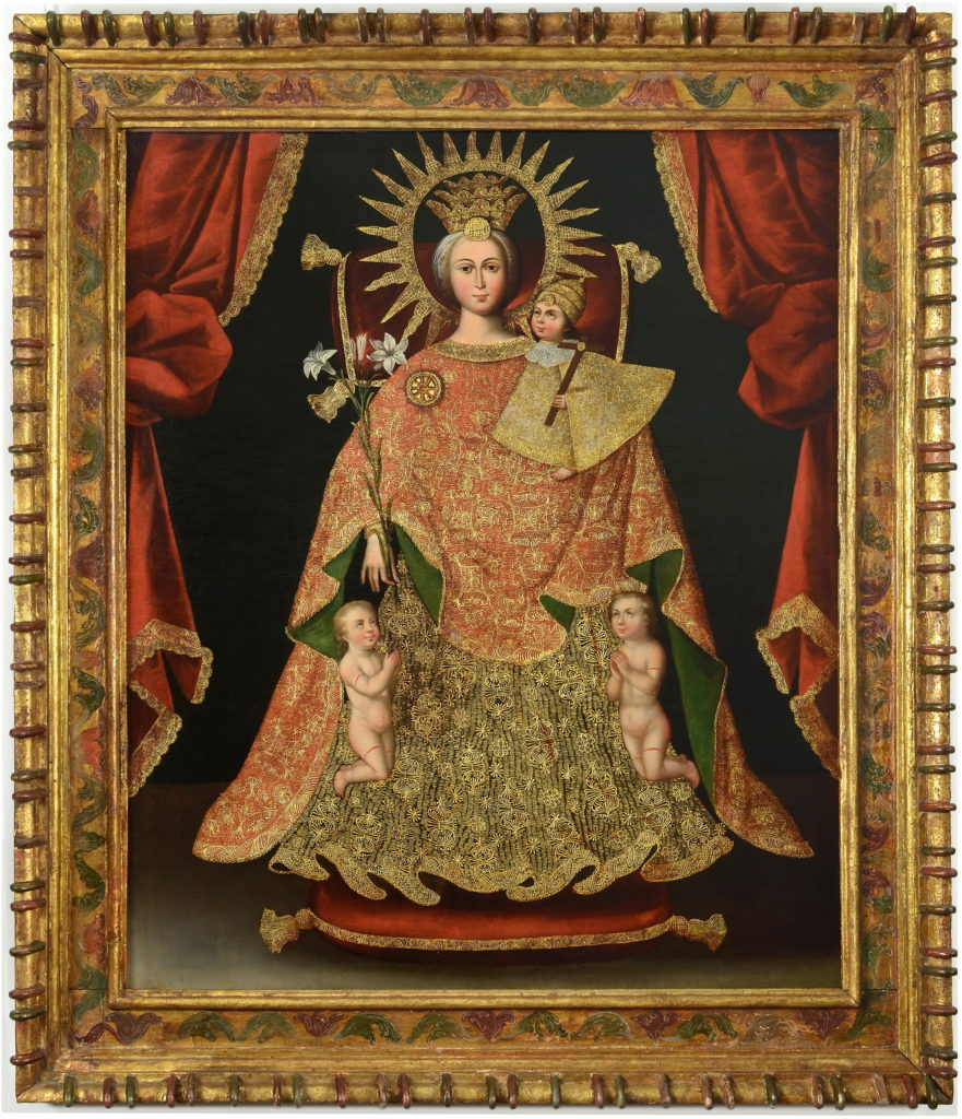 """Painting by unknown artist, titled """"Nuestra Señora de los Desamparados [Our Lady of the Forsaken]"""", depicting Virgin Mary surrounded by three babies"""