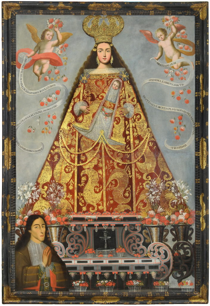 """Painting by unknown artist, titled """"Nuestra Señora de Belén on un donante [Our Lady of Bethlehem with a Donor]"""""""