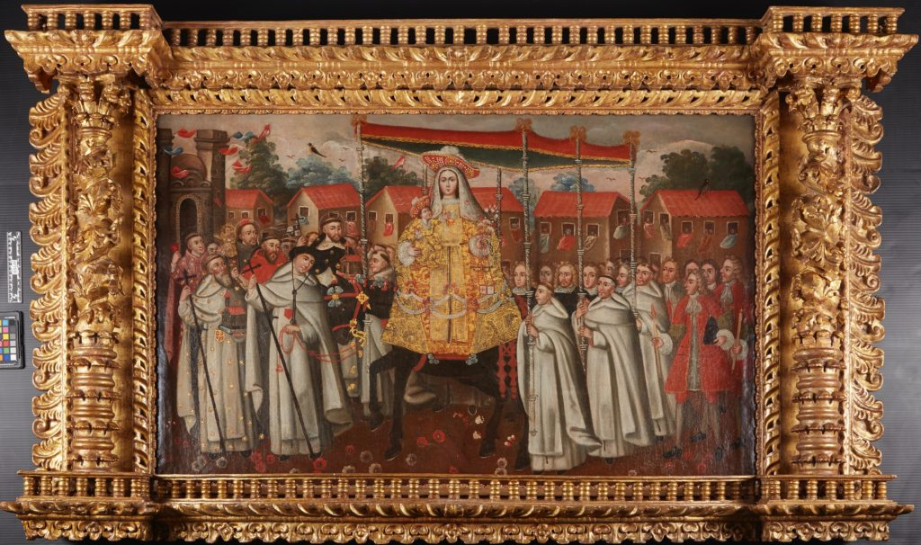 """Painting by unknown artist, titled """"Nuestra Señora de la Merced, llamada la Peregrinade Quito [Our Lady of Mercy, Called la Peregrinade Quito]"""", depicting Virgin Mary holding Jesus on a horse surrounded by monks"""