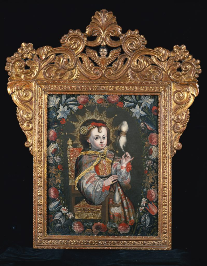 Image of a painting showing Mary as a child sitting in a hair spinning thread while looking out at the viewer.