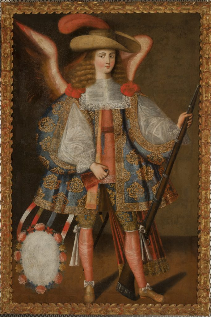 Image of a painting depicts an angel dressed in heavily decorated clothing from the time period holding a rifle in their left hand and an ammunition bag in their right hand